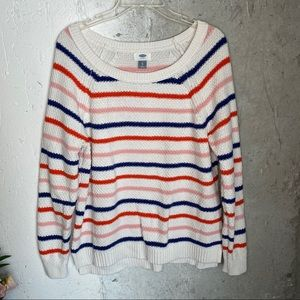 Old Navy Striped Long sleeve Sweater Knit Crewneck
